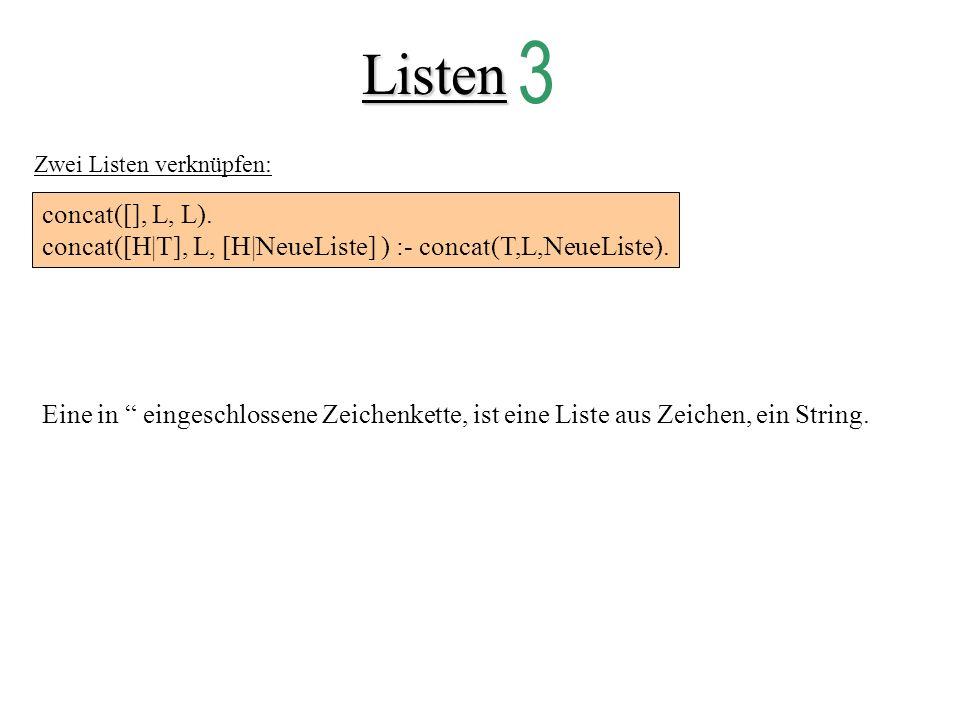 Listen 3. Zwei Listen verknüpfen: concat([], L, L). concat([H|T], L, [H|NeueListe] ) :- concat(T,L,NeueListe).